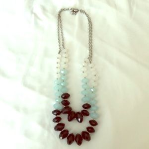 Layered beaded necklace with earrings